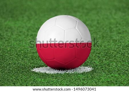 Flag of Poland on Football Poland Flag on soccer ball #1496073041