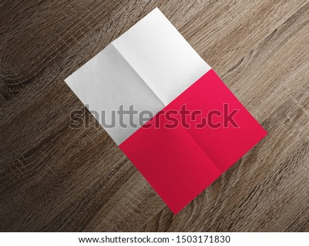 Flag of Poland on paper. Poland Flag on wooden table. #1503171830