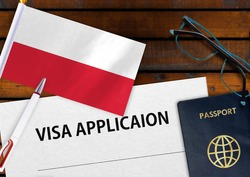 Flag of Poland, visa application form and passport on table