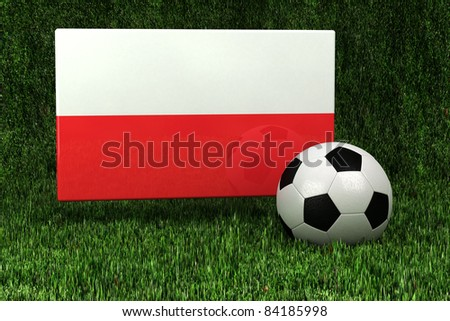 Flag of Poland with soccer ball over grass background - very highly detailed render - stock photo