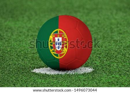Flag of Portugal on Football Portugal Flag on soccer ball #1496073044
