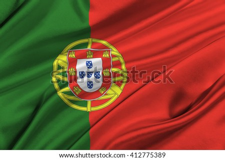 Flag of Portugal waving in the wind.