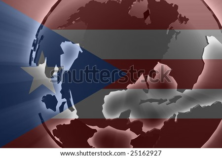 Flag of Puerto Rico, national country symbol illustration