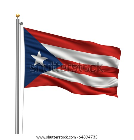 Flag of Puerto Rico with flag pole waving in the wind over white background - stock photo