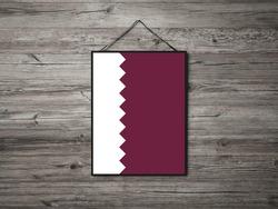 Flag of Qatar Hanging on Wall. Qatar Flag for advertising, award, achievement, festival, election.