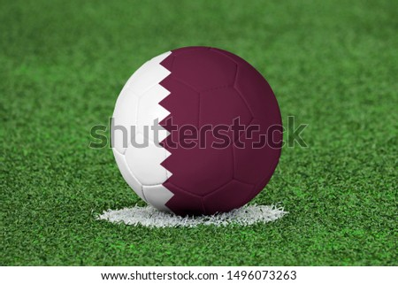Flag of Qatar on Football Qatar Flag on soccer ball