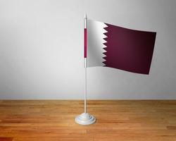 Flag of Qatar Table. Qatar Desk Flag on Wooden Table.