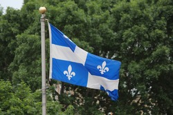 Flag of Quebec on flagpole with green trees background