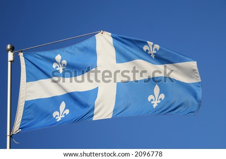 Flag of quebec white cross and emblem on blue background - stock photo