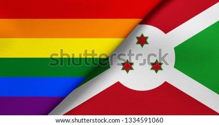 Flag of Rainbow flag (LGBT movement) and Burundi #1334591060