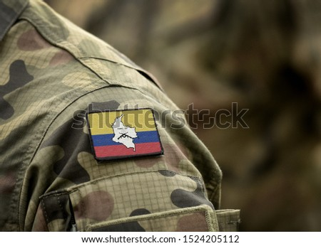 Flag of Revolutionary Armed Forces of Colombia (FARC) on military uniform. Revolutionary Armed Forces of Colombia — People's Army (collage).