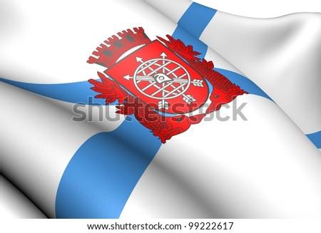 Flag of Rio de Janeiro. Close up.