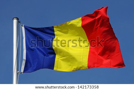 Flag of Romania on a sunny day