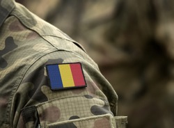 Flag of Romania on military uniform. Army, armed forces, soldiers. Collage.