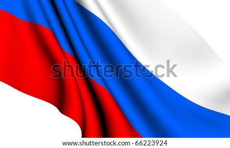 Flag of Russia against white background. Close up.