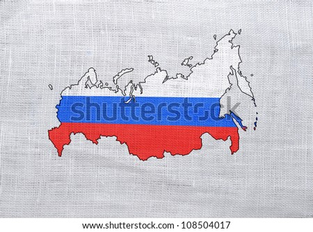 Flag of Russia on a sackcloth background
