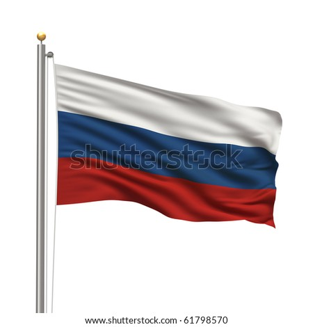 Flag of Russia with flag pole waving in the wind over white background