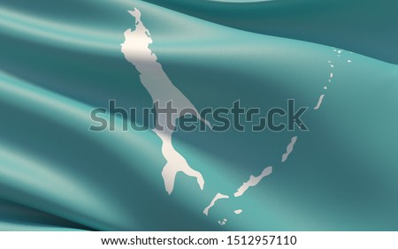 Flag of Sakhalin Oblast. High resolution close-up 3D illustration. Flags of the federal subjects of Russia.