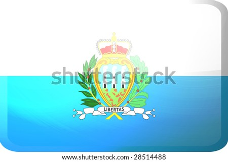 Flag of San Marino, national country symbol illustration glossy button icon