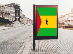 Flag of Sao Tome and Principe Hanging on Advertising Board. Sao Tome and Principe Flag for advertising, award, achievement, festival, election.
