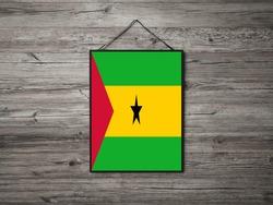 Flag of Sao Tome and Principe Hanging on wall. Sao Tome and Principe Flag for advertising, award, achievement, festival, election.