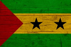 Flag of Sao Tome and Principe. Wooden texture of the flag of Sao Tome and Principe.