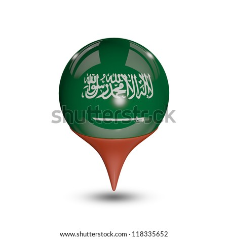 Flag of Saudi Arabia pin isolated on white.