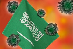 Flag of Saudi Arabia with outbreak deadly coronavirus covid-19.