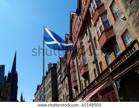 Flag of Scotland, St Andrew's Cross, in Edinburgh.