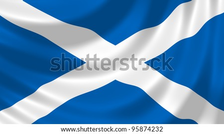 Flag of Scotland waving in the wind detail