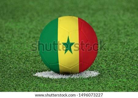 Flag of Senegal on Football Senegal Flag on soccer ball #1496073227