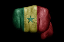 Flag of Senegal painted on strong fist on black background