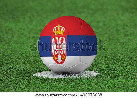Flag of Serbia on Football Serbia Flag on soccer ball #1496073038
