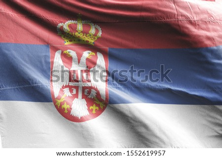 Flag of Serbia waving. National Serbia Flag for Independence day. #1552619957