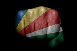 Flag of Seychelles painted on strong fist on black background