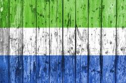 Flag of Sierra Leone painted on wooden frame