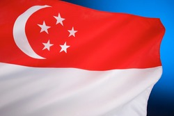 Flag of Singapore - first adopted in 1959, the year Singapore became self-governing within the British Empire. It was reconfirmed as the national flag when the Republic gained independence in 1965.
