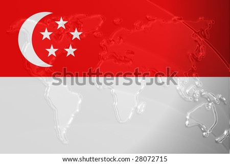 Singapore National Flag Picture on Flag Of Singapore  National Country Symbol Illustration With World Map