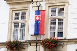 Flag of Slovakia on the flagstaff.