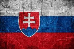 Flag of Slovakia overlaid with grunge texture