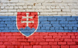 Flag of Slovakia painted on brick wall, background texture
