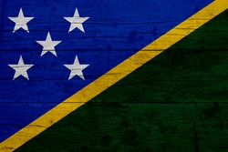 Flag of Solomon Islands. Wooden texture of the flag of Solomon Islands.