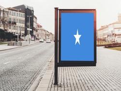 Flag of Somalia Hanging on Advertising Board. Somalia Flag for advertising, award, achievement, festival, election.