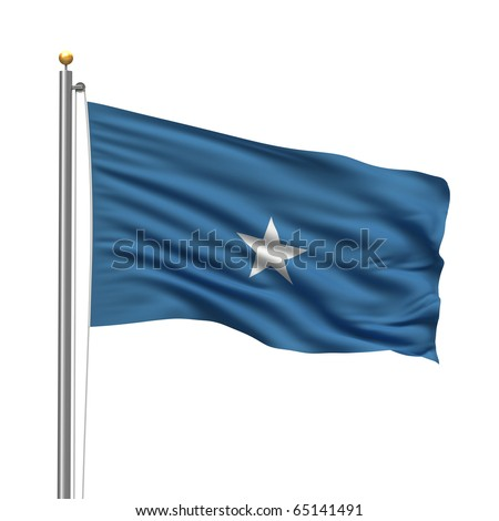 Flag of Somalia with flag pole waving in the wind over white background
