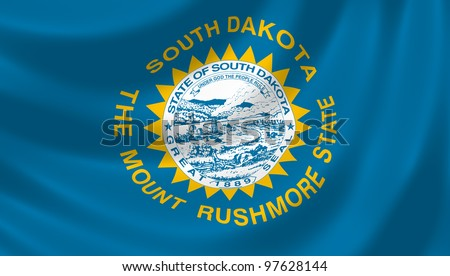 Flag of South Dakota  waving in the wind detail