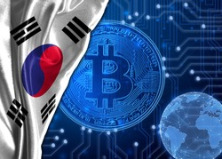 Flag of South Korea against the background of crypto currency bitcoin.