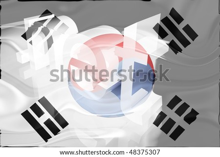 Flag of South Korea, national country symbol illustration wavy net domain website
