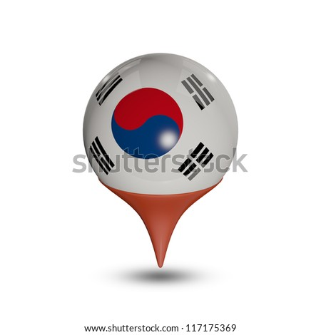 Flag of South Korea pin isolated on white.