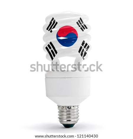 Flag of South Korea with energy saving lamp on white background.