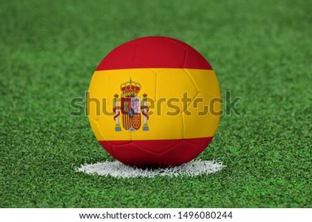 Flag of Spain on Football Spain Flag on soccer ball #1496080244